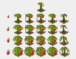 Dragon fruit crops for Oasis: the last hope game by Pykodelbi