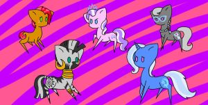 Derp ponies- fillies, Zecora, and Trixie. by blam13