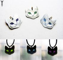 Grinning Catface Pendants by TrollGirl