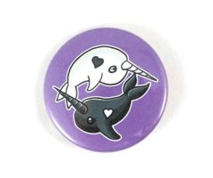Yin-Yang Narwhals Button Pins/Magnets/Keychains by BeeZee-Art