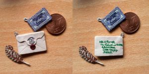 Hogwarts Letter and Train Ticket pendants by EerieStir