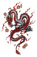 Dragon design, black and red by Pallat