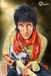 Portrait Musician (Ronnie Wood) in painting by awie06
