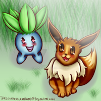 Evee for OperatorFighter + Oddish by TheLoneRestlessRose