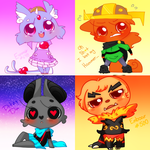 Chibi Collection - Esponair, Me, DitzyDoo, Emboar by Ruhianna
