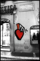 a heart on the wall. by blackTWINS