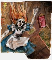 Alice falling down the rabbit hole by Tallis