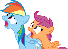 Rainbow Dash And Scootaloo Vector - Shocked by CyanLightning