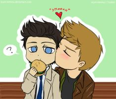 Destiel - Jealous of a burger by Tsuki-Nekota