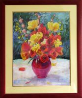 Red Vase with Tulips by Renegraphics