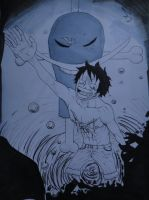 Luffy drowning in Sorrow by OnePiecerin
