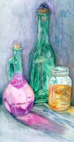 Glass Bottles with Water by slur