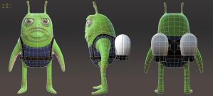Grumpy Alien Turnaround Wireframe by MarcelMarkov