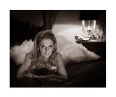 Bride on a bed, sepia by PicTd
