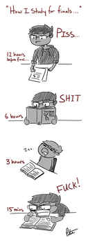 How I study for finals... by Open-Circle