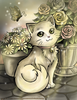 Cat and Flowers by Blesses