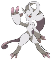 Mewtwo or Mewthree new forme in pokemon X and Y by Phatmon