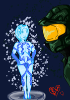 Master chief and his little AI by CISOLR
