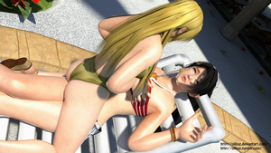 Momiji and Helena 3D render pose Pool by Olibuz
