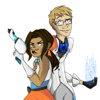 Magical Duo Featuring Chell and Wheatley by Reneehere
