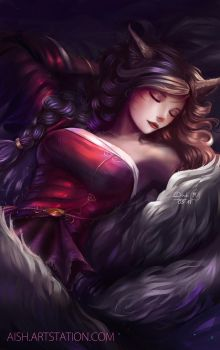 Sleeping Ahri (NSFW available) by DoubiDoubi