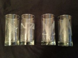 Custom Etched Mass Effect Glases (Complete Set) by musky4489