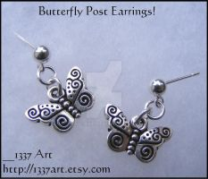 Butterfly Earring Posts by 1337-Art