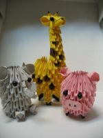 Mini Zoo 3D Origami by pandanpandan