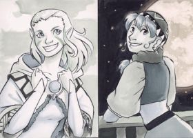 Sketch Card - Luna and Jessica by Jadiekins