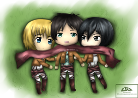 Attack on Titan Trio by Louiology