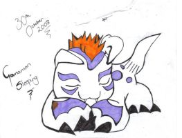 Gomamon sleeping by kittyAngel14