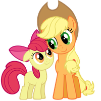Applejack and Apple Bloom by Stabzor