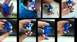 Polymer clay Sonic figurine by Milkate