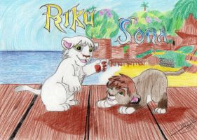 Baby Riku and Sora, lions by SailorMiha