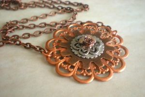 Copper Filigree Necklace by rowan300