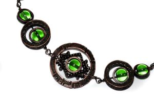 Necklace - Green - Copper Tone Star Gate by CatherinetteRings