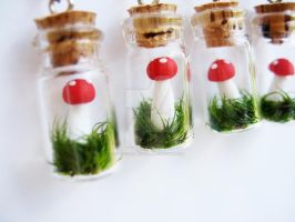 Handmade Toadstool Mushroom Terrarium Earrings by sagicornDreams