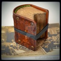 Miniature Antique Brown Journal - 2.2 x 2 inches by alexlibris999