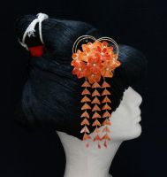 Orange Peach and Red Plum Blossom Kanzashi with Go by japanesesilkflowers