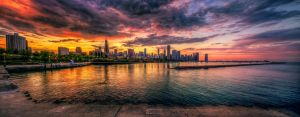 Chicago Sunset Skyline panoramic HDR by delobbo