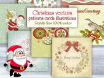 Christmas vectors, illustrations, cards, patterns by 123creative