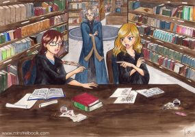 Hester and Tina - Hogwarts library by Alkanet