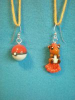 AT: Vulpix+Pokeball earrings by Foureyedalien