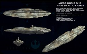 MC-80 Home One type Star Cruiser ortho by unusualsuspex