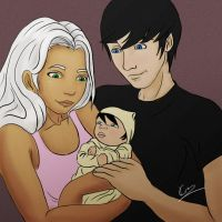 Tina, Jason, and Baby by KiraTheArtist
