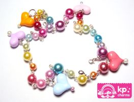 rainbow pearls necklace by KPcharms