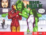 She-Hulk and Tony Stark by daikkenaurora