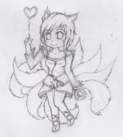 [ART DUMP] Sketch of LoL - Ahri (Chibi) by Panatrix