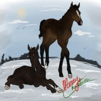 MERRY CHRISTMAS FOALS - iRideOn + Equine Ribbon by CubanacanWarmbloods