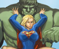 supergirl and hulk by Haseo1970
